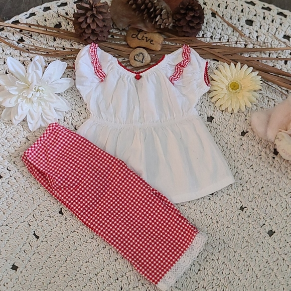 NWOT BO HO RED WHITE 2 PIECE SET PLAID MULTI 3T